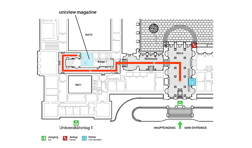 Map showing the way to the uni:view magazine